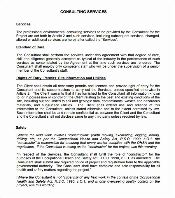 Consulting Agreement Template Free Inspirational Consulting Agreement 15 Pdf Doc Download