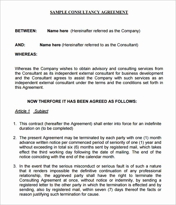 Consulting Agreement Template Free Inspirational Consulting Agreement 7 Free Pdf Doc Download