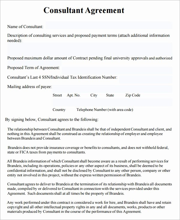 Consulting Agreement Template Free Unique Consulting Agreement 7 Free Pdf Doc Download