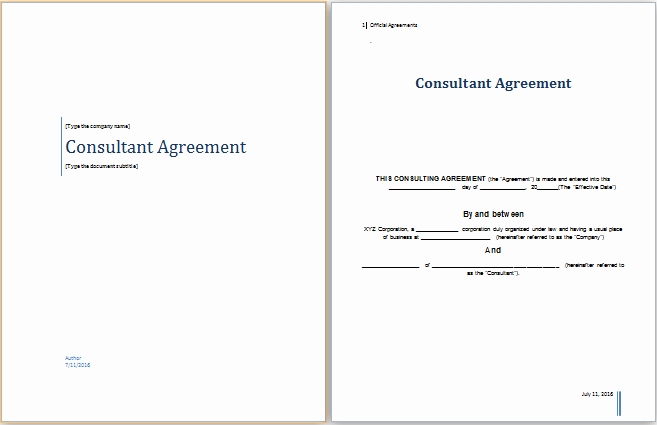 Consulting Agreement Template Word Fresh Ms Word Consultant Agreement Template