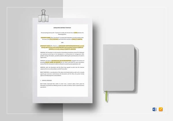 Consulting Agreement Template Word Lovely Student Agreement Contract Sample 12 Examples In Word