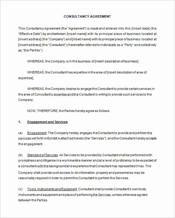 Consulting Agreement Template Word New 6 Consulting Contract Templates – Free Word Pdf