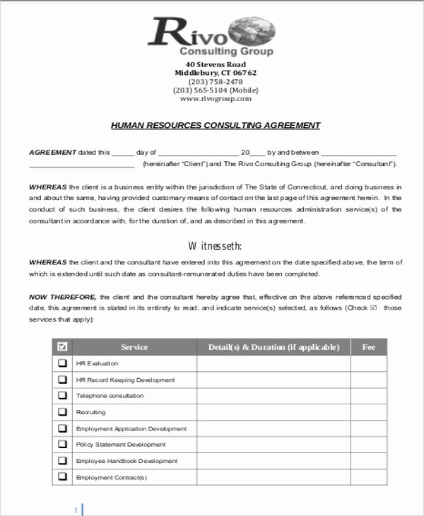 Consulting Contract Template Word Best Of 9 Sample Consulting Retainer Agreements Word Pdf