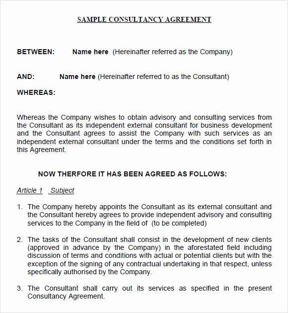 Consulting Contract Template Word Lovely Sample Consulting Agreement 14 Documents In Pdf Word