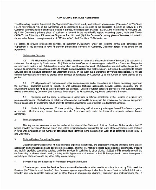 Consulting Contract Template Word New Sample Business Consulting Agreement Template 7 Free