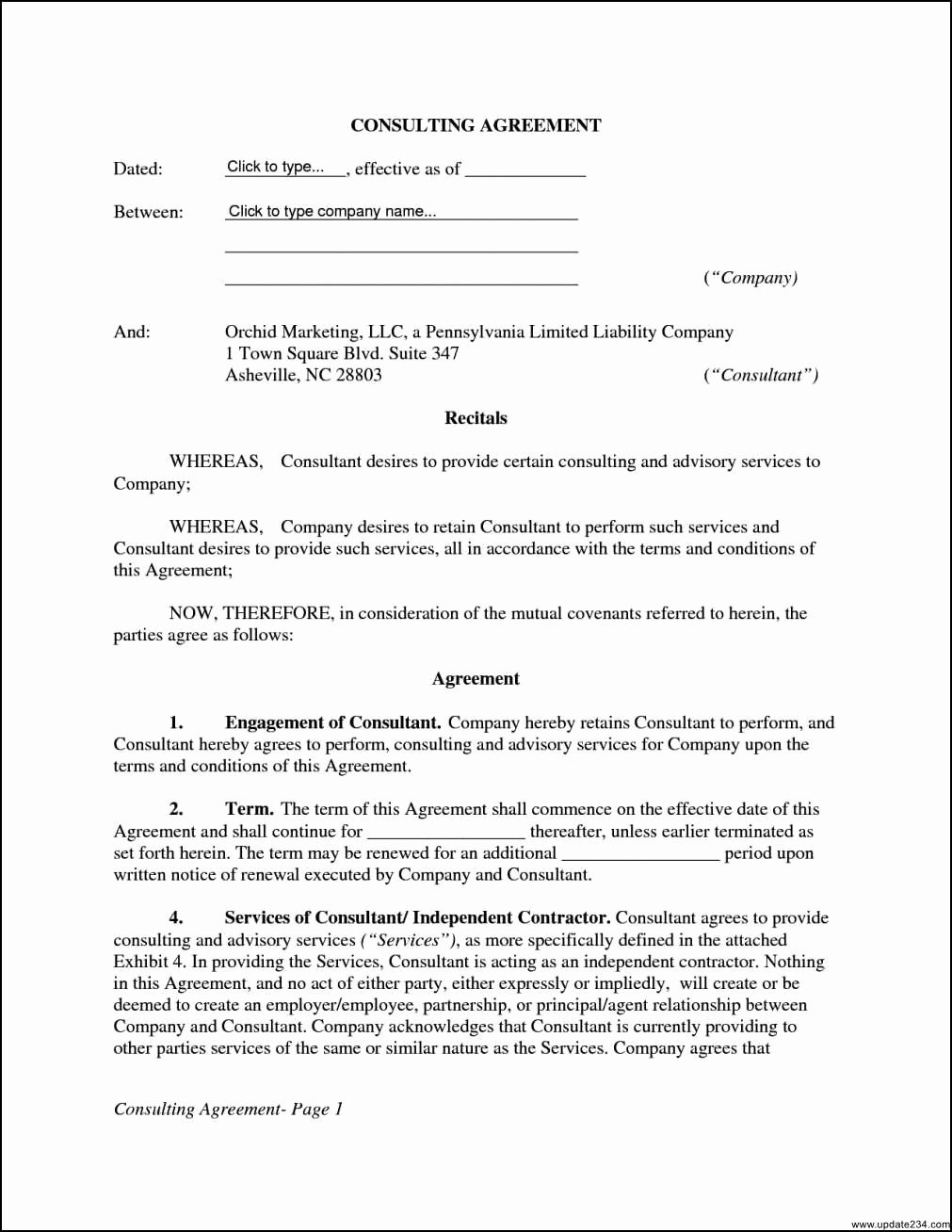 Consulting Contract Template Word Unique 27 original Free Consulting Agreement form Ve K