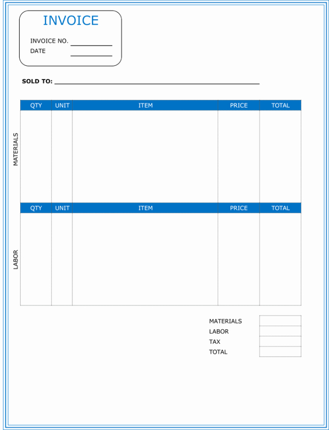 Contractor Invoice Template Free Beautiful Contractor Invoice Template 6 Printable Contractor Invoices