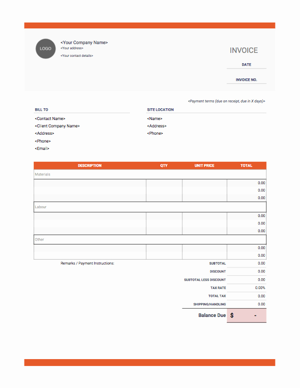 Contractor Invoice Template Free Beautiful Contractor Invoice Templates Free Download