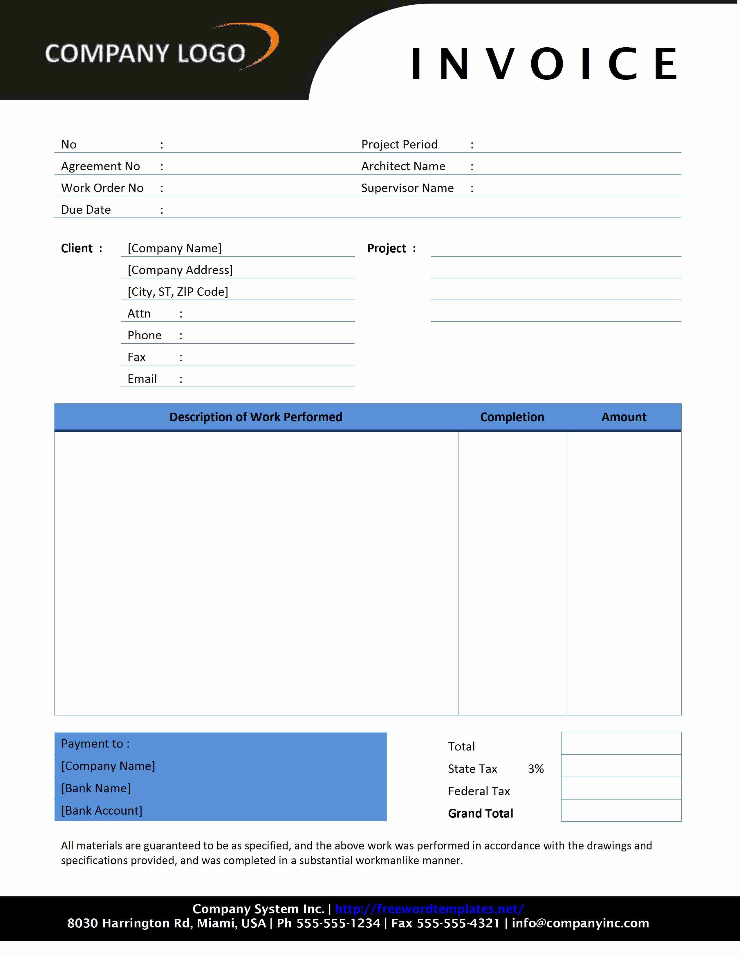 Contractor Invoice Template Free Elegant Contractor Invoice