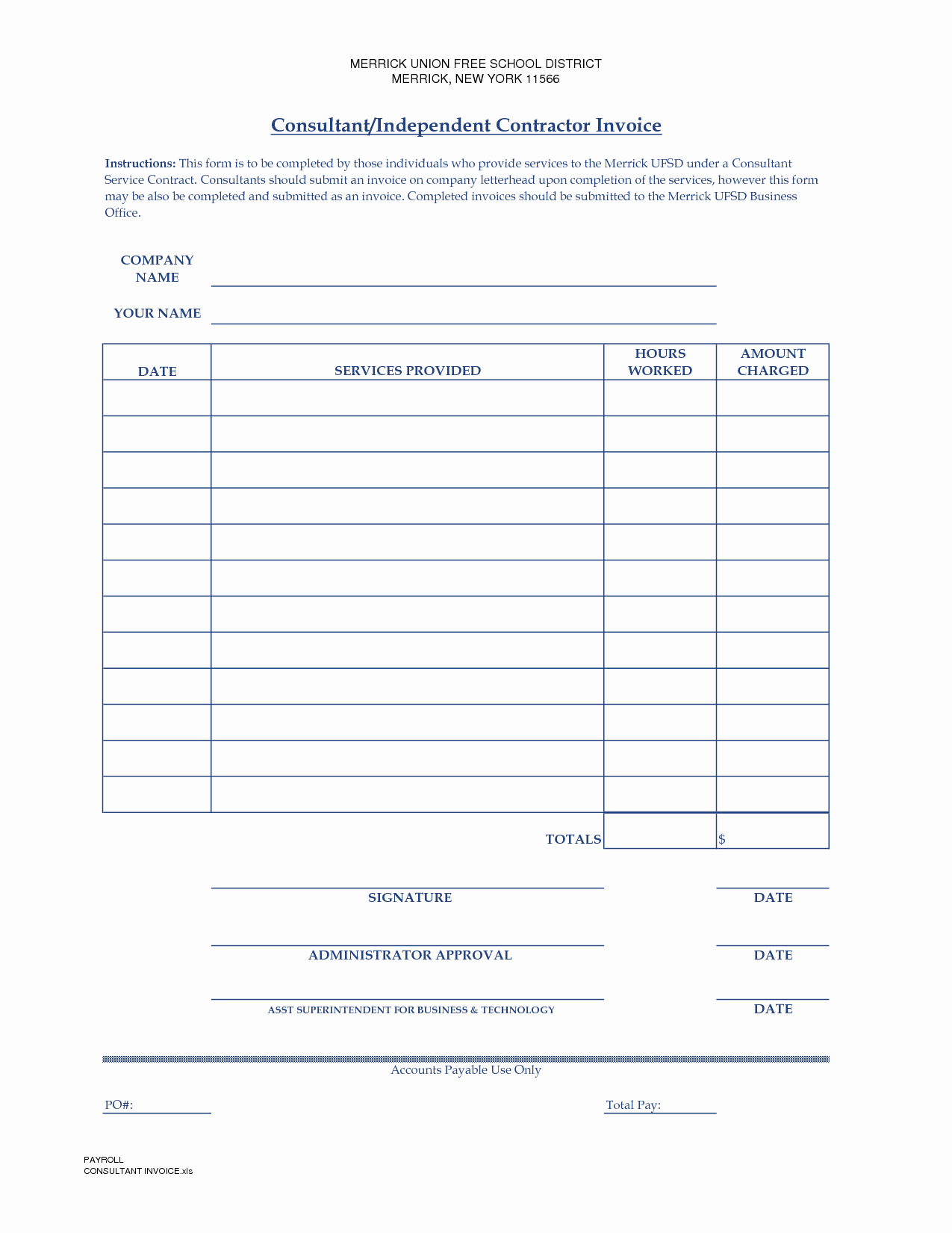 Contractor Invoice Template Free Inspirational Independent Contractor Invoice Template Free
