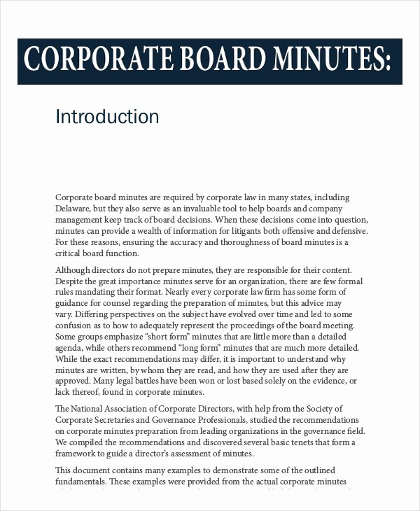 Corporate Minutes Template Word Elegant Board Minutes Template 11 Word Pdf Google Docs Apple