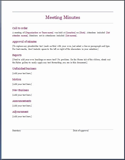 Corporate Minutes Template Word Elegant Sample Meeting Minute Templates