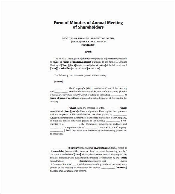 Corporate Minutes Template Word Fresh Annual Corporate Meeting Minutes Template – Free Download