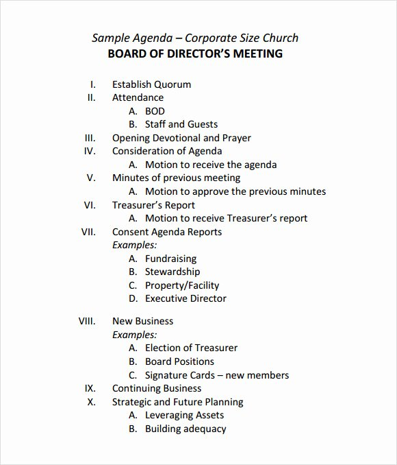 Corporate Minutes Template Word Lovely Free 11 Sample Board Meeting Agenda Templates In Pdf