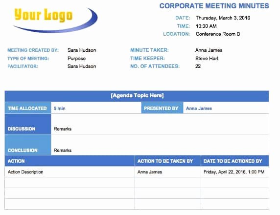 Corporate Minutes Template Word Luxury Free Meeting Minutes Templates Instructions