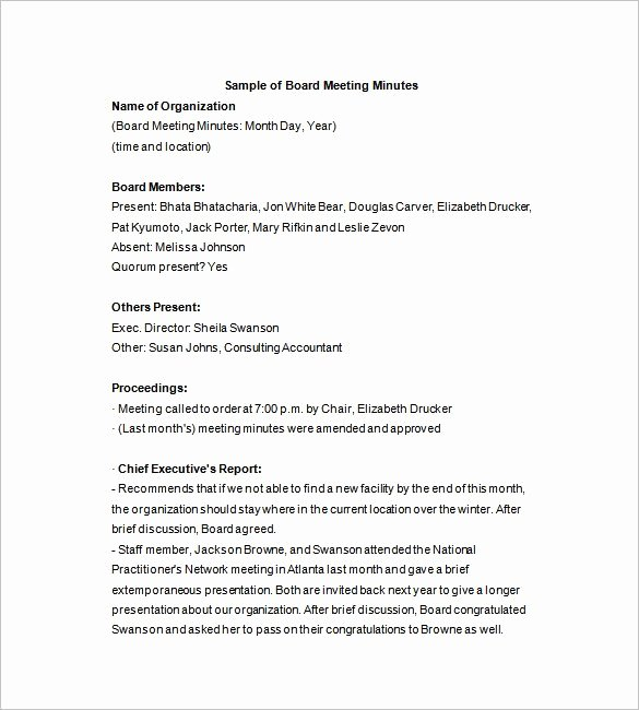 Corporate Minutes Template Word New Board Of Directors Meeting Minutes Template 12 Example