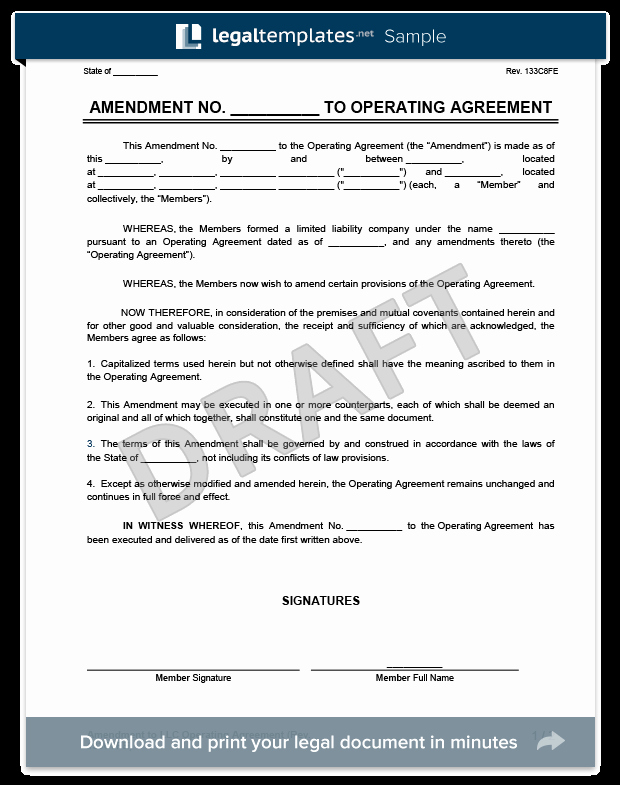 Corporate Operating Agreement Template Beautiful Amendment to An Llc Operating Agreement