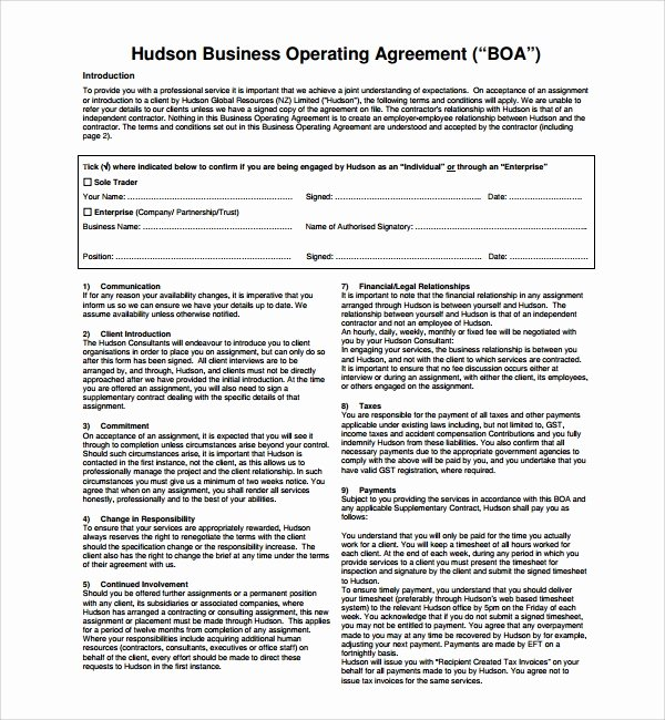 Corporate Operating Agreement Template Beautiful Sample Business Operating Agreement 7 Free Documents