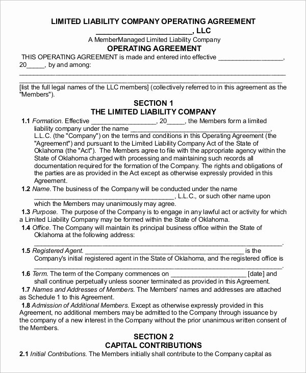 Corporate Operating Agreement Template Beautiful Sample Operating Agreement 12 Examples In Word Pdf