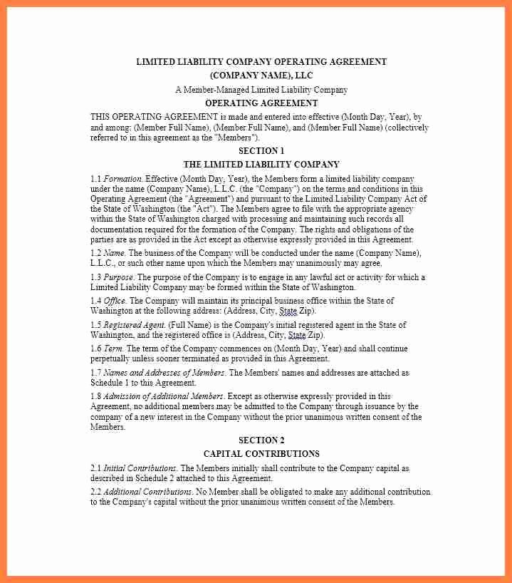 Corporate Operating Agreement Template Best Of 9 Pany Operating Agreement Template