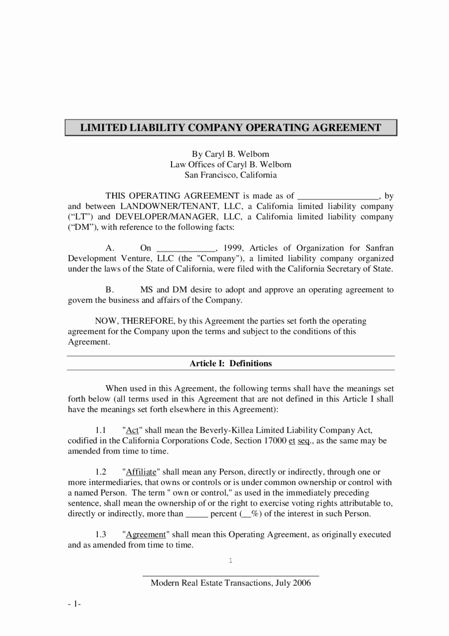Corporate Operating Agreement Template Elegant 2019 Llc Operating Agreement Template Fillable