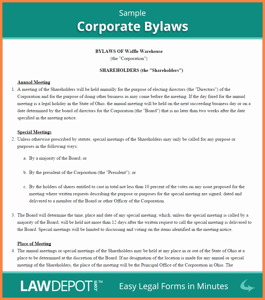 Corporate Operating Agreement Template Elegant 4 Corporation Operating Agreement Template