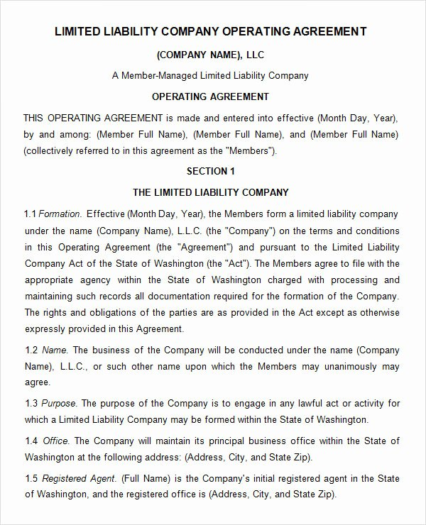 Corporate Operating Agreement Template Luxury Free 11 Sample Operating Agreement Templates In Google