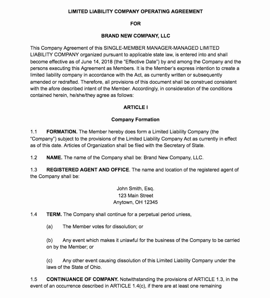 Corporate Operating Agreement Template Luxury How to Create An Llc Operating Agreement [ Free Templates]