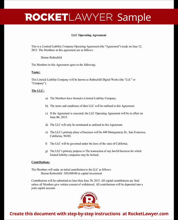 Corporate Operating Agreement Template Luxury Llc Operating Agreement Sample & Template
