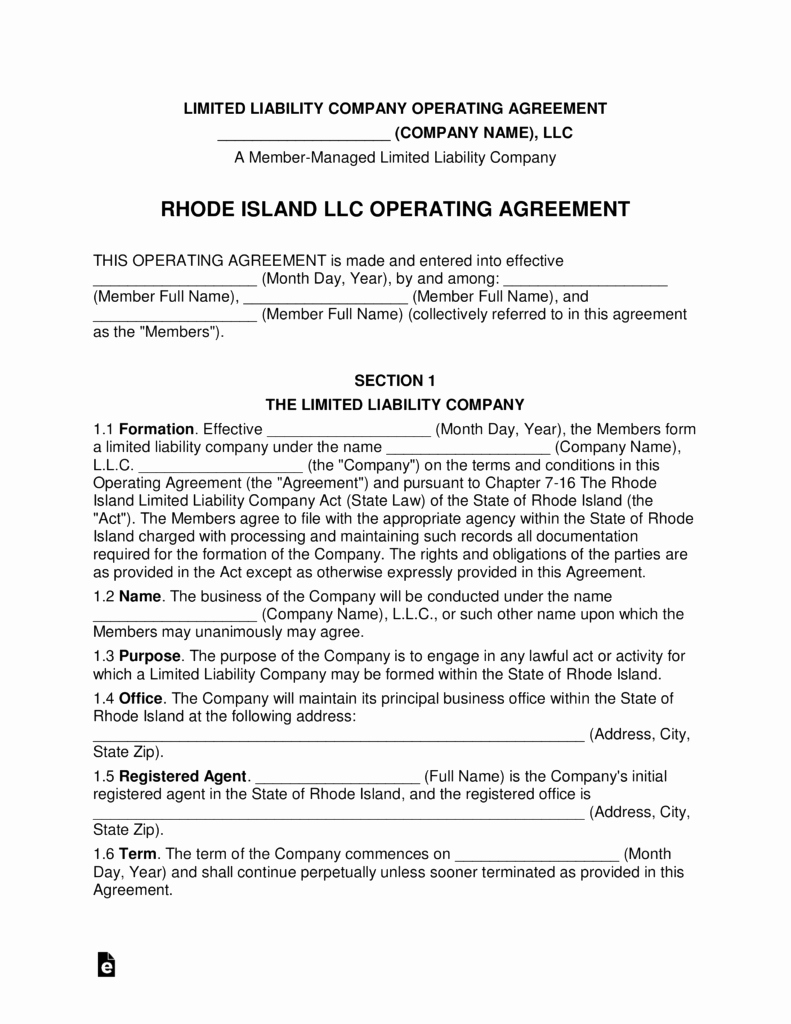 Corporate Operating Agreement Template New Rhode island Multi Member Llc Operating Agreement form