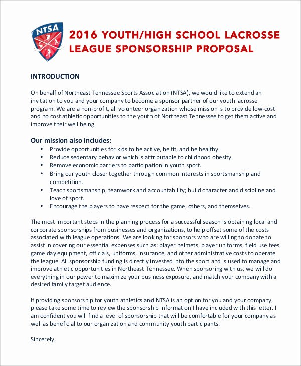Corporate Sponsorship Proposal Template Fresh 11 Sports Sponsorship Proposal Templates Word Pdf
