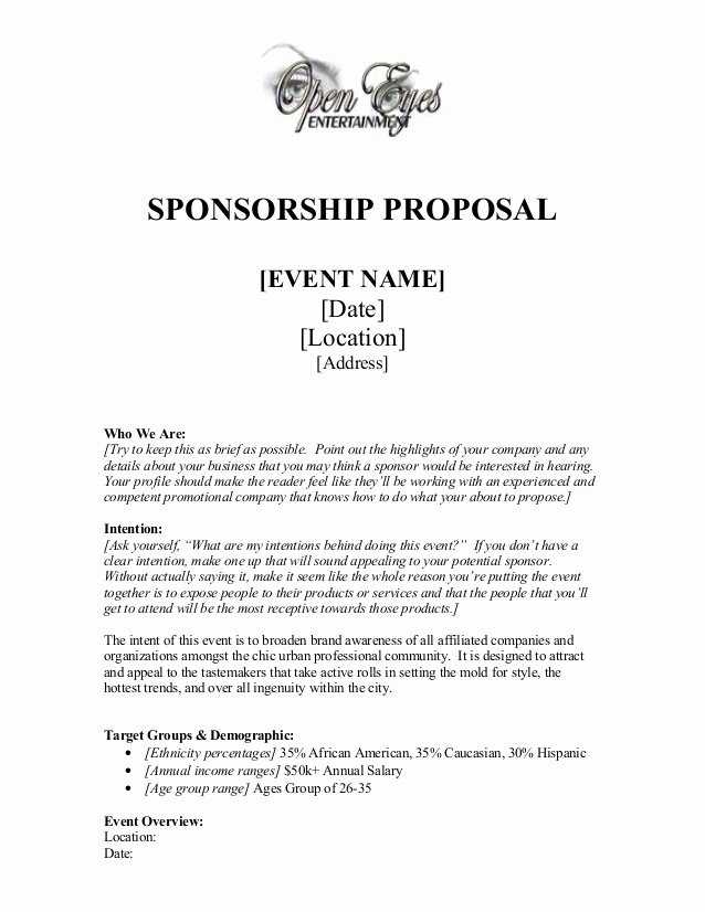 Corporate Sponsorship Proposal Template Luxury Sponsorship Proposal