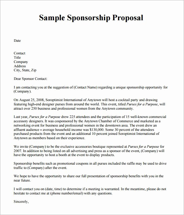 Corporate Sponsorship Proposal Template New Free 17 Sample Sponsorship Proposal Templates In Google