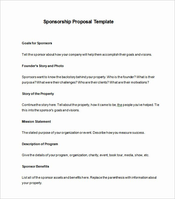 Corporate Sponsorship Proposal Template Unique Sponsorship Proposal Template 22 Free Word Excel Pdf