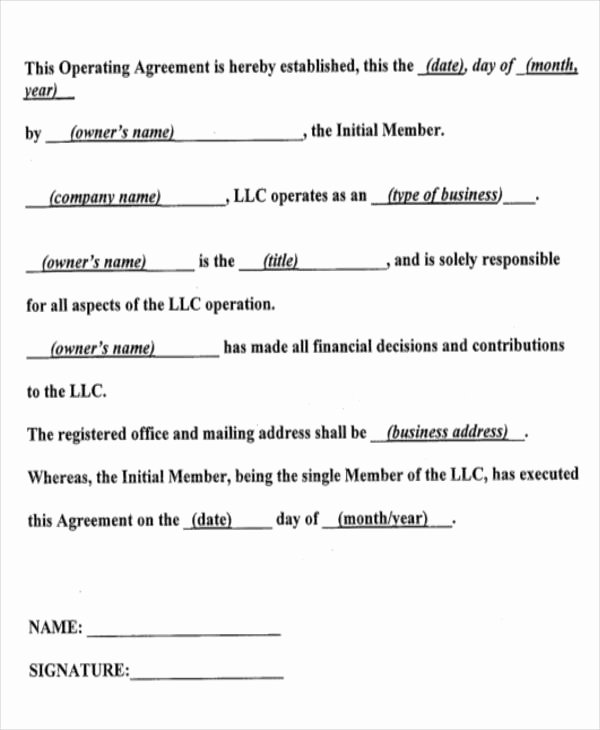 Corporation Operating Agreement Template Beautiful 14 Operating Agreements Samples Examples Pdf Google