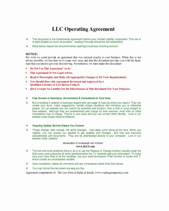Corporation Operating Agreement Template Elegant 30 Free Professional Llc Operating Agreement Templates