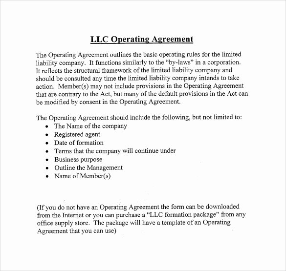 Corporation Operating Agreement Template Fresh 13 Sample Operating Agreements Pdf Word