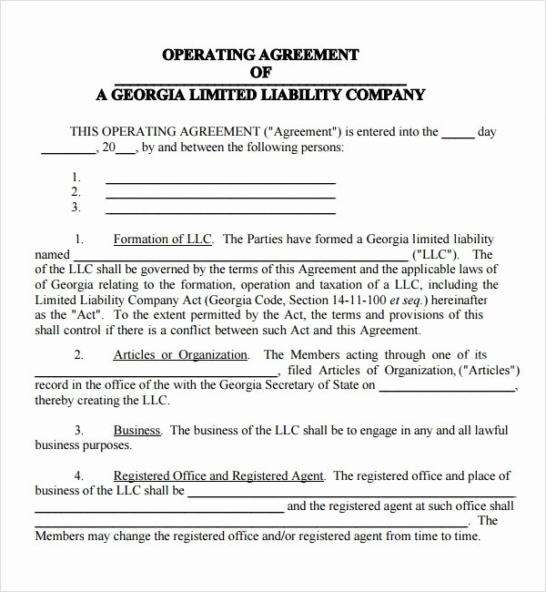operating agreement template