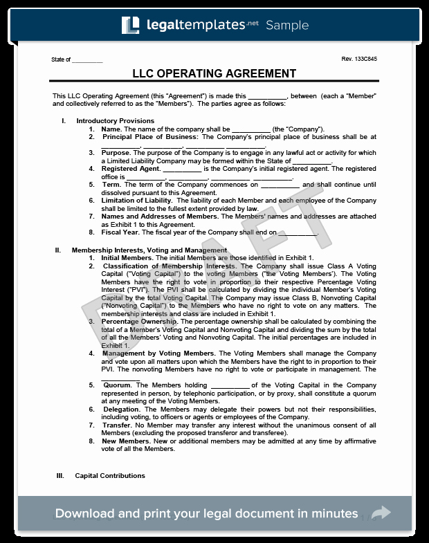 Corporation Operating Agreement Template Fresh Llc Operating Agreement Template
