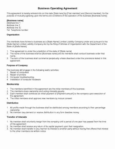 Corporation Operating Agreement Template Inspirational 31 Sample Agreement Templates In Microsoft Word