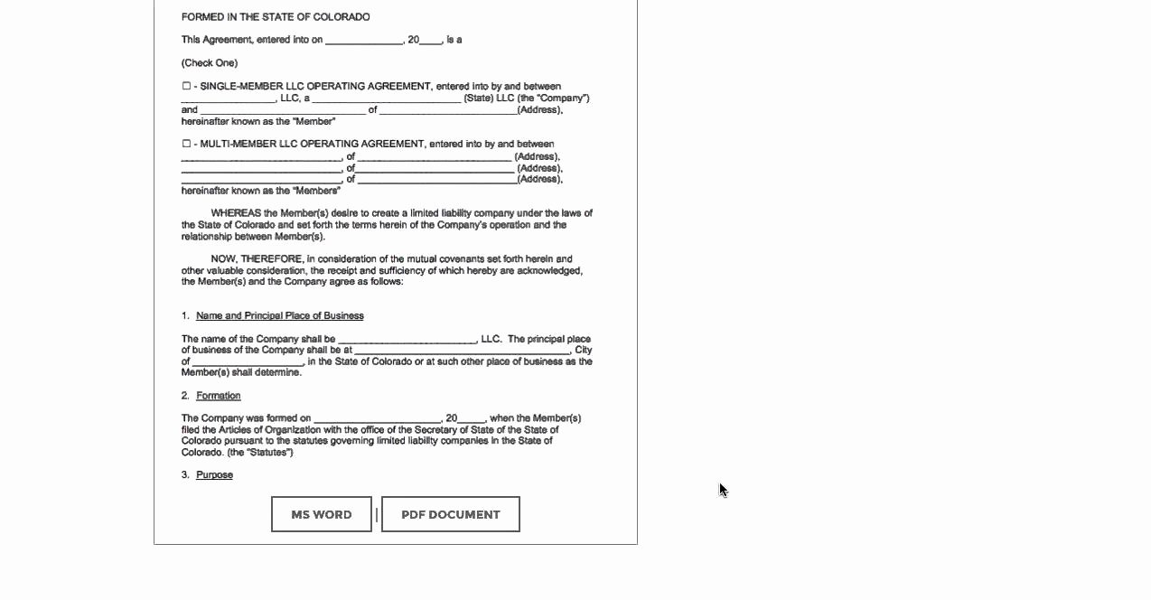 Corporation Operating Agreement Template Inspirational Free Colorado Llc Operating Agreement Template