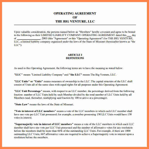 Corporation Operating Agreement Template New 9 Operating Agreement Corporation Template