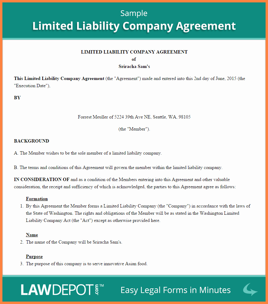 Corporation Operating Agreement Template Unique 4 Sample Llc Operating Agreement Template