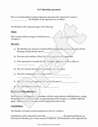Corporation Operating Agreement Template Unique Llc Operating Agreement Sample & Template