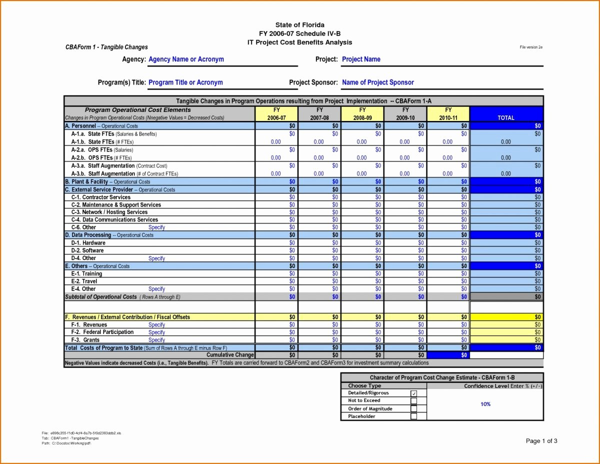 Cost Analysis Excel Template Elegant Cost Benefit Analysis Template Excel 10 – Guatemalago