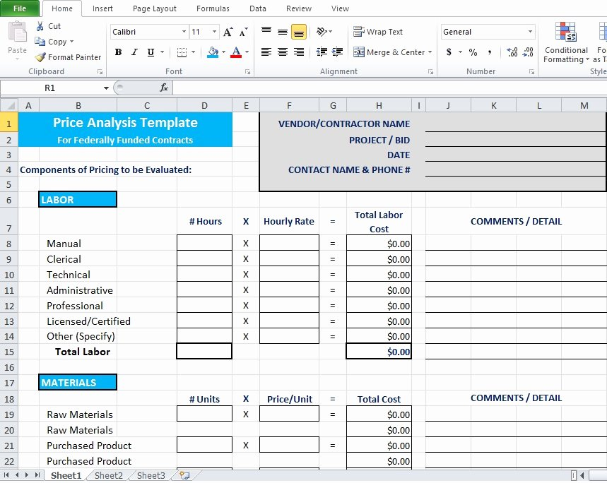 Cost Analysis Excel Template Lovely Price Analysis Spreadsheet Template Excel Tmp