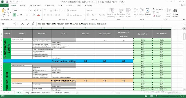 total project cost analysis excel