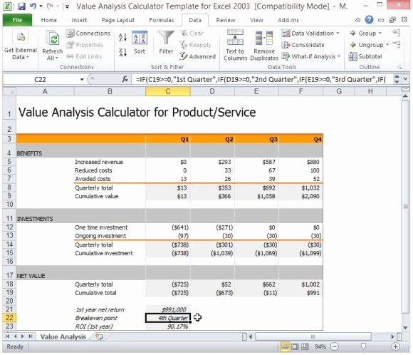Cost Analysis Template Excel New Value Analysis Calculator Template for Excel
