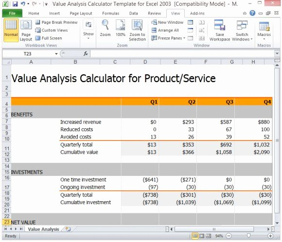 Cost Benefit Analysis Template Excel Elegant Value Analysis Calculator Template for Excel