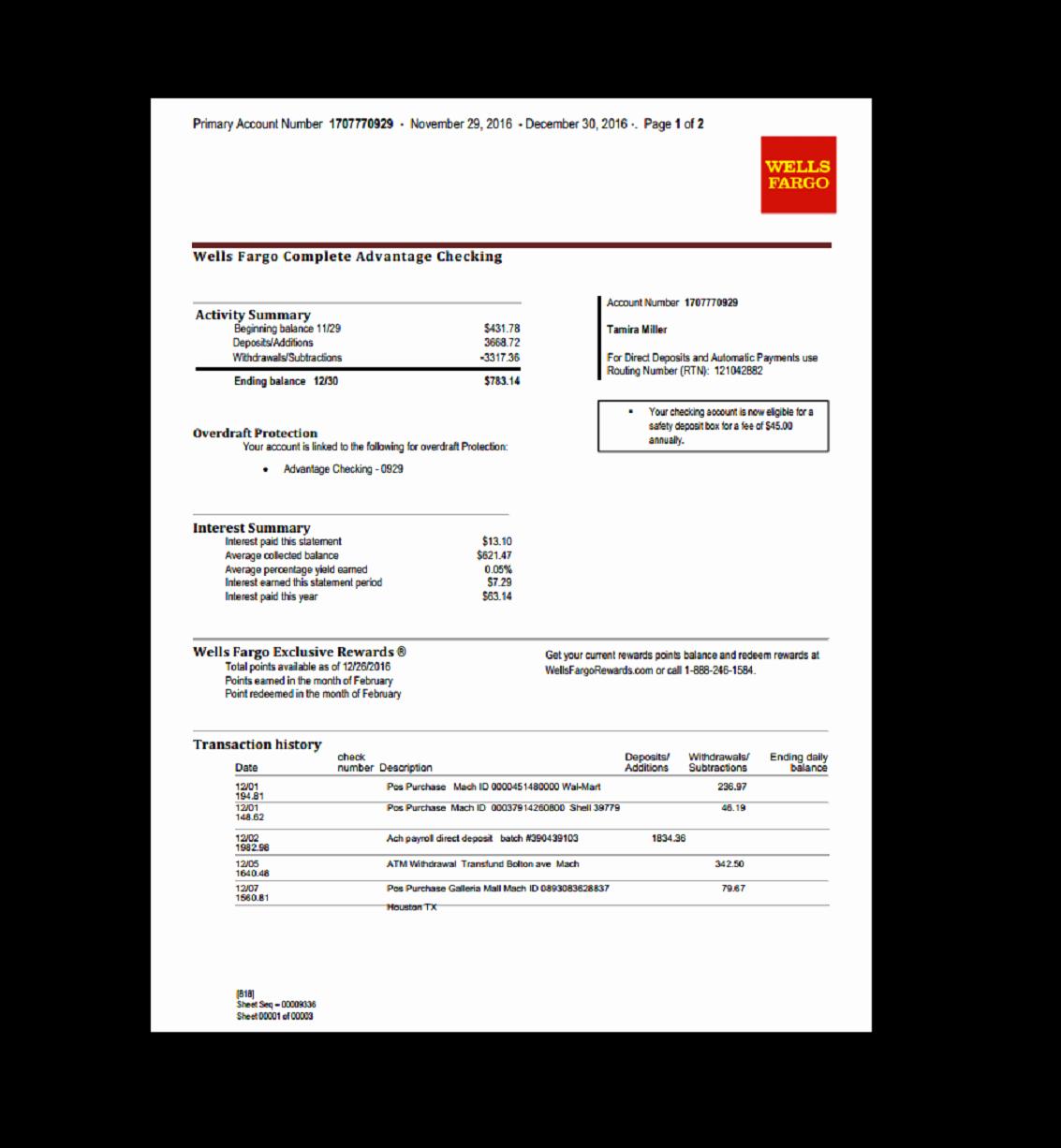 Create Fake Bank Statement Template Inspirational Bank Statement Wells Fargo Template Fake Custom